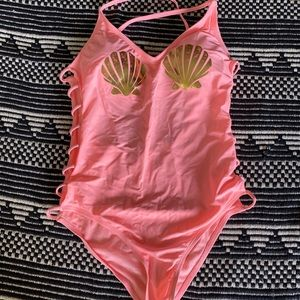 Coral Mermaid Shell One Piece Swimsuit L